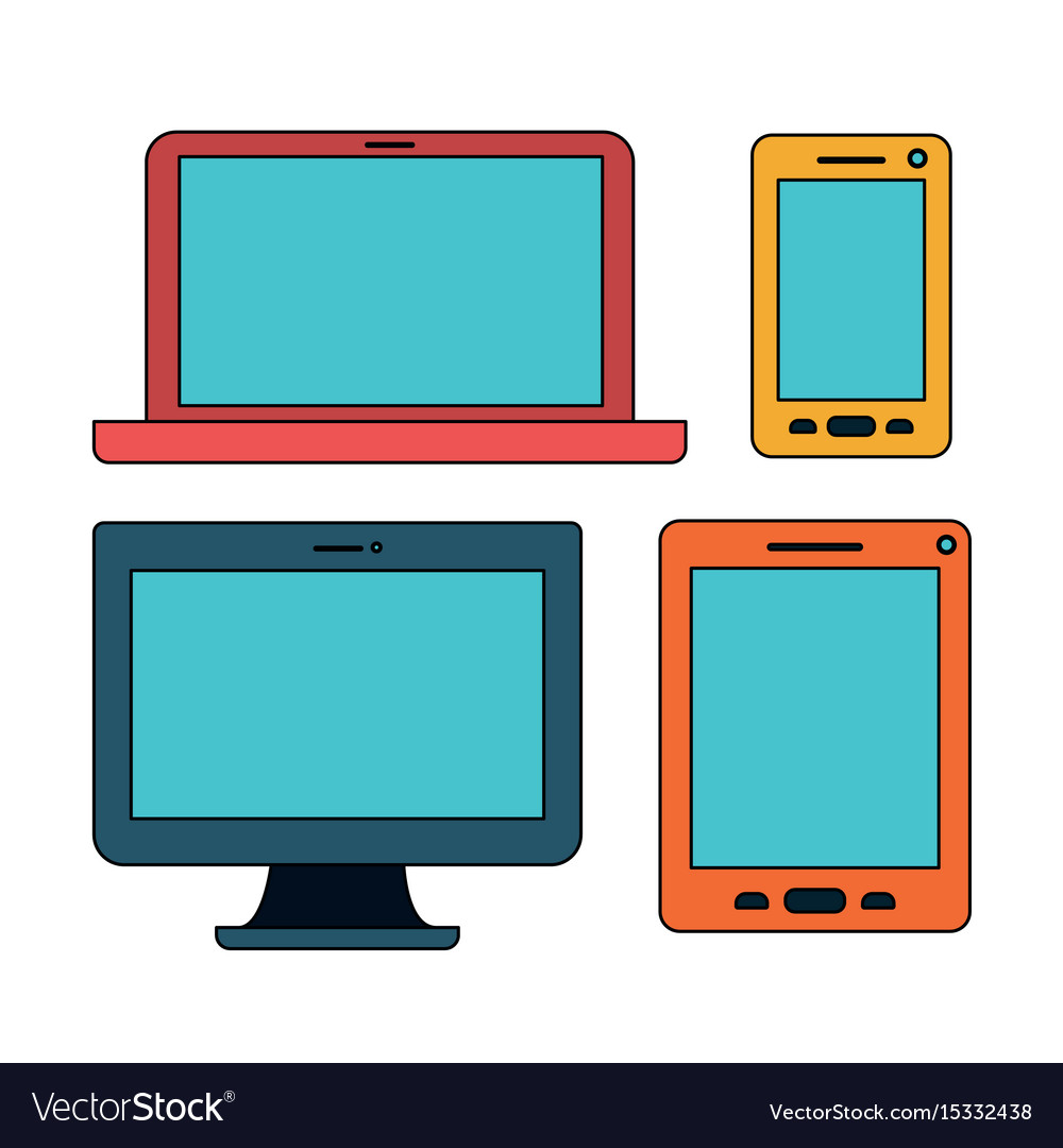 White background with colorful set devices