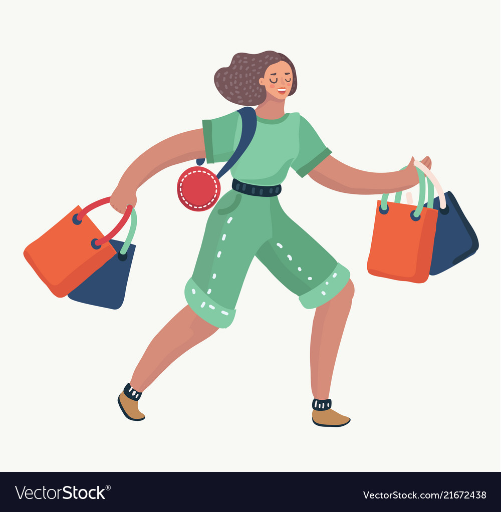 Woman walks with gift bags