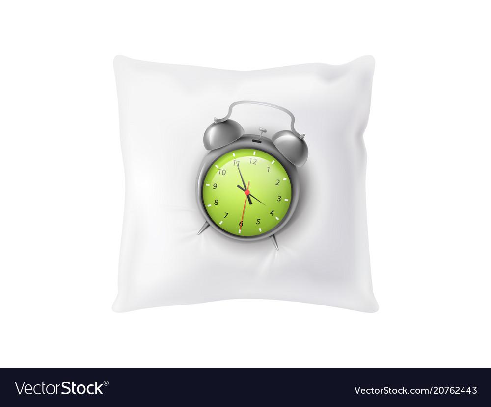 3d realistic alarm clock on pillow