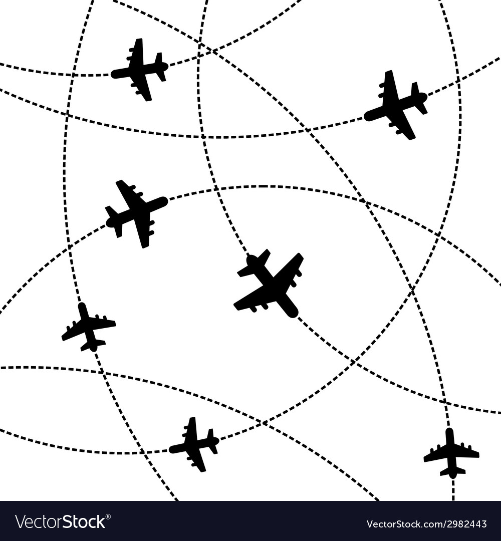 Airplanes Background with Trajectory vector image