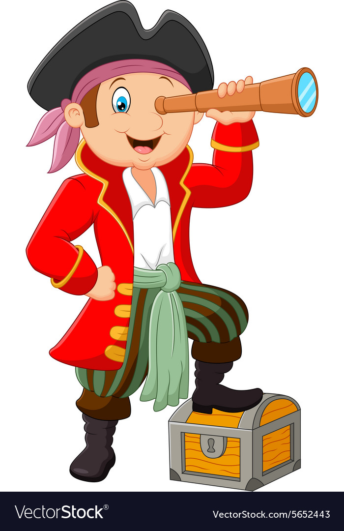 cartoon pirate looking through binoculars vector image rh vectorstock com pirate cartoon pictures free female pirate cartoon images