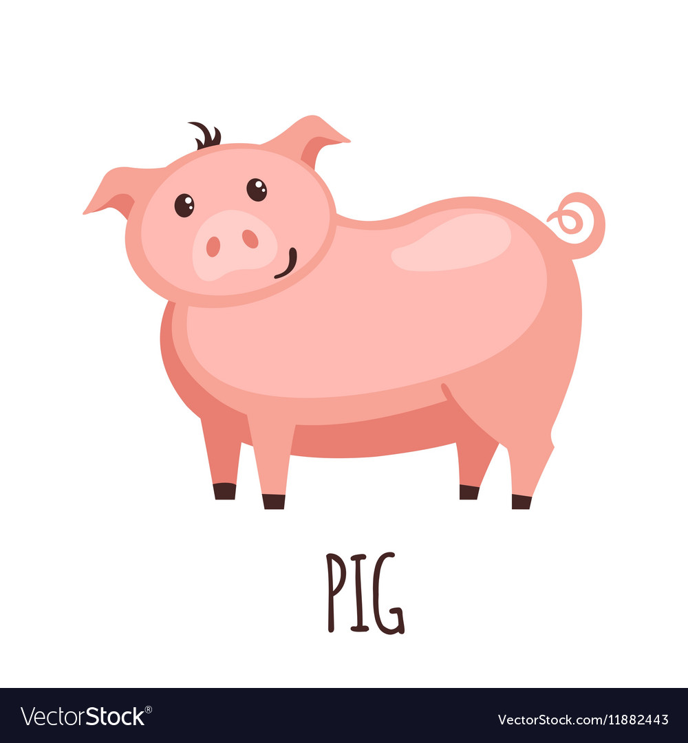Cute pig in flat style