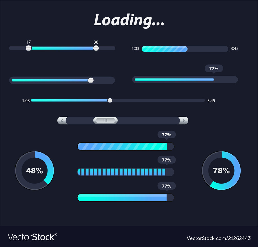 Different interface loaders in dark colors