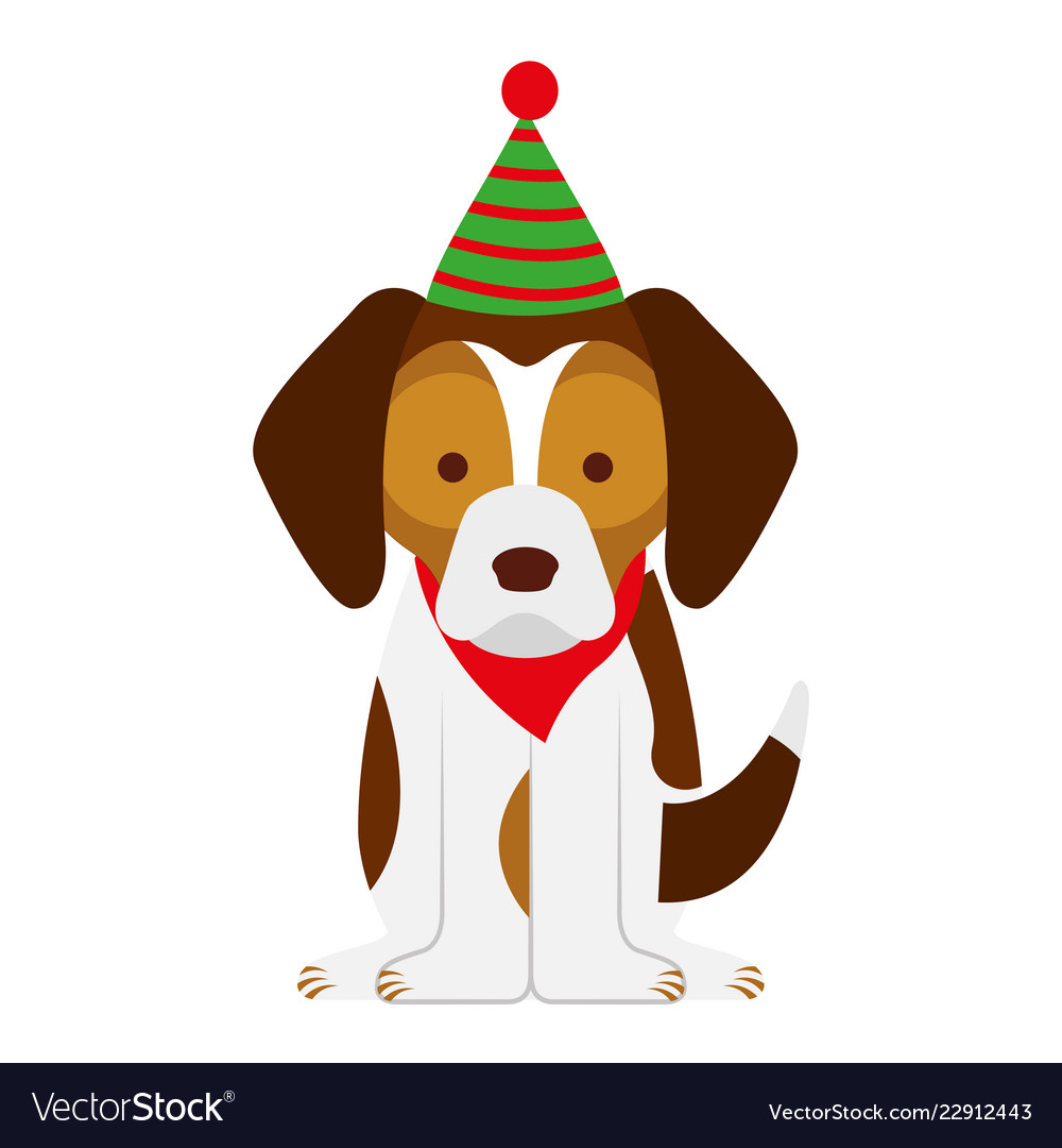 Dog merry christmas card Royalty Free Vector Image