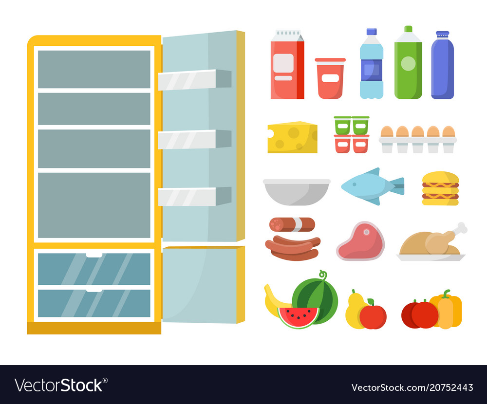 Empty refrigerator and different food flat