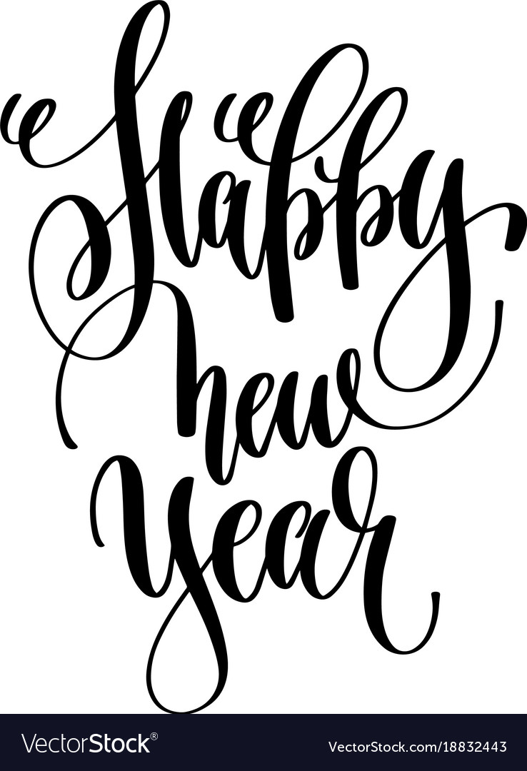 happy new year hand lettering celebration quote vector image