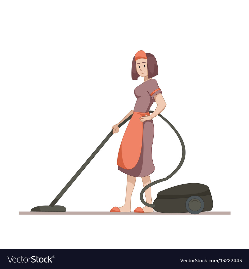 Housekeeper or housewife makes home cleaning with