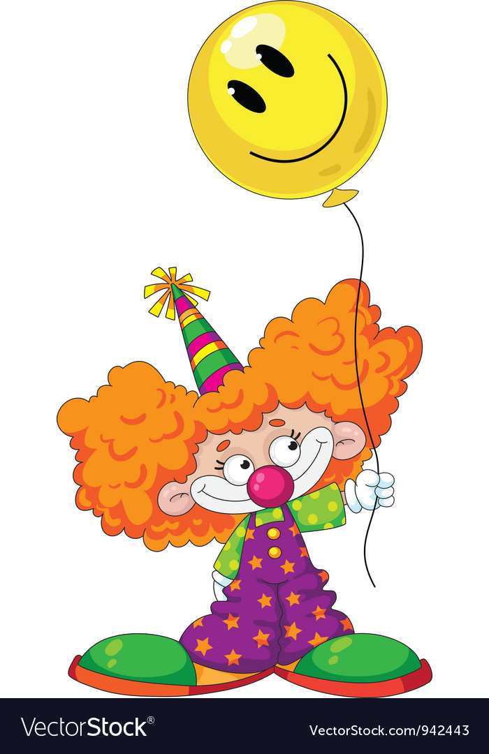 Kid clown with baloon vector image