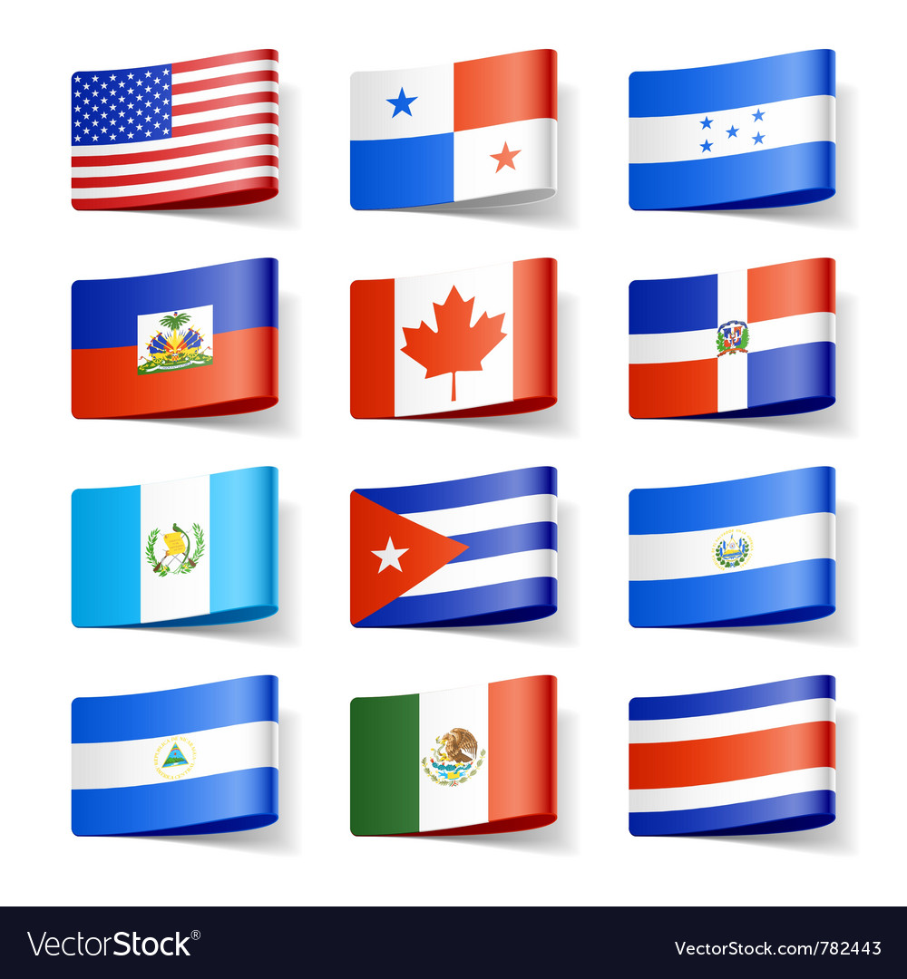 north america flags royalty free vector image vectorstock