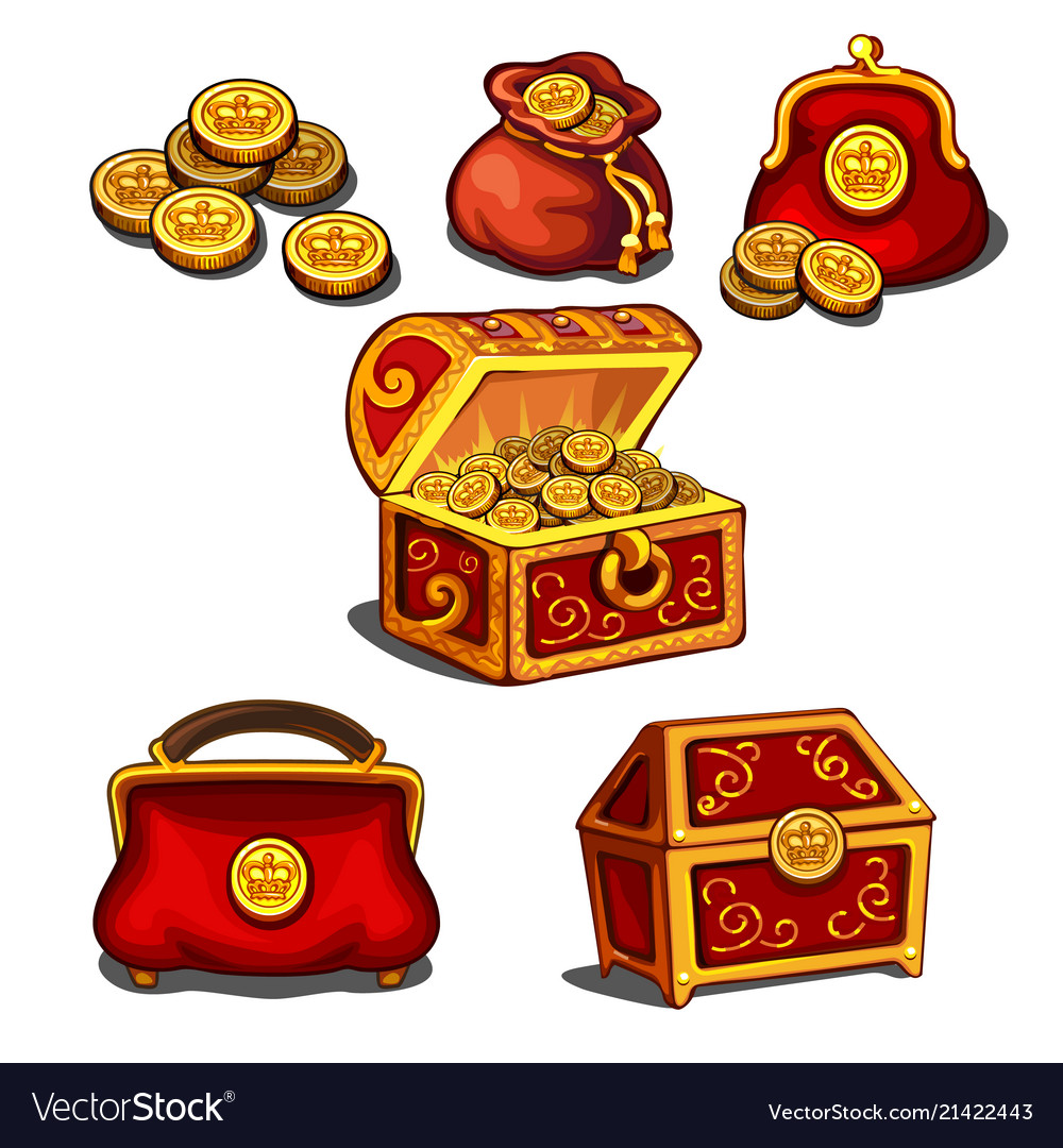 Set of wallets bags and a chest full of gold
