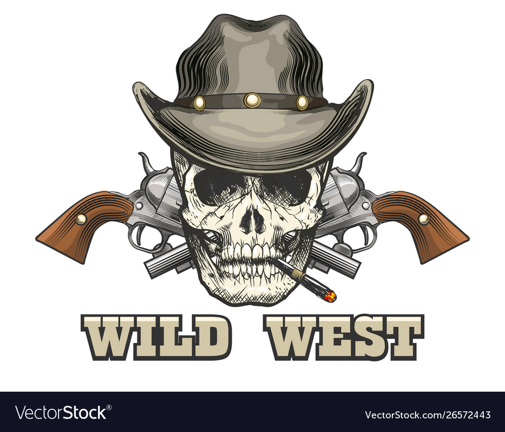 Skull in cowboy hat with two revolvers