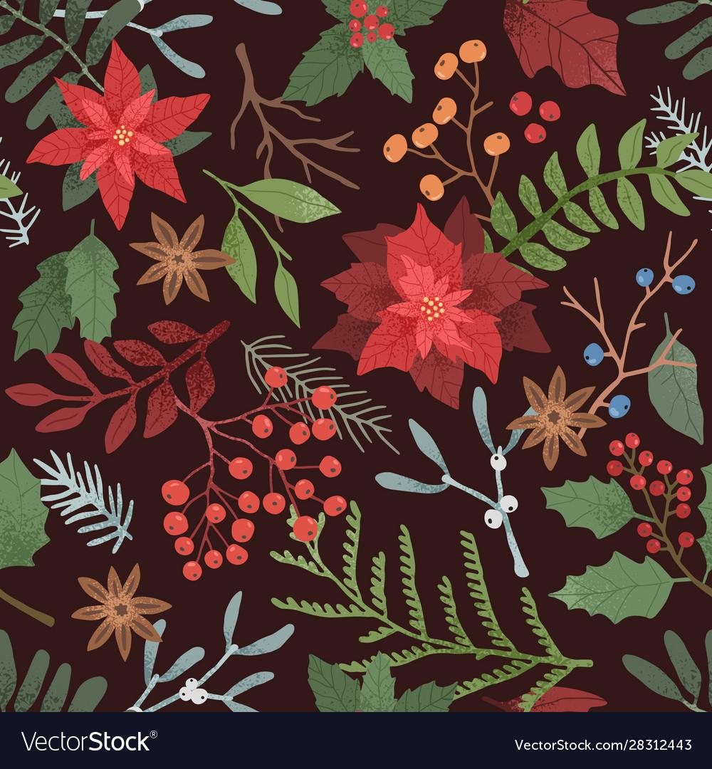 Winter season botanical seamless pattern