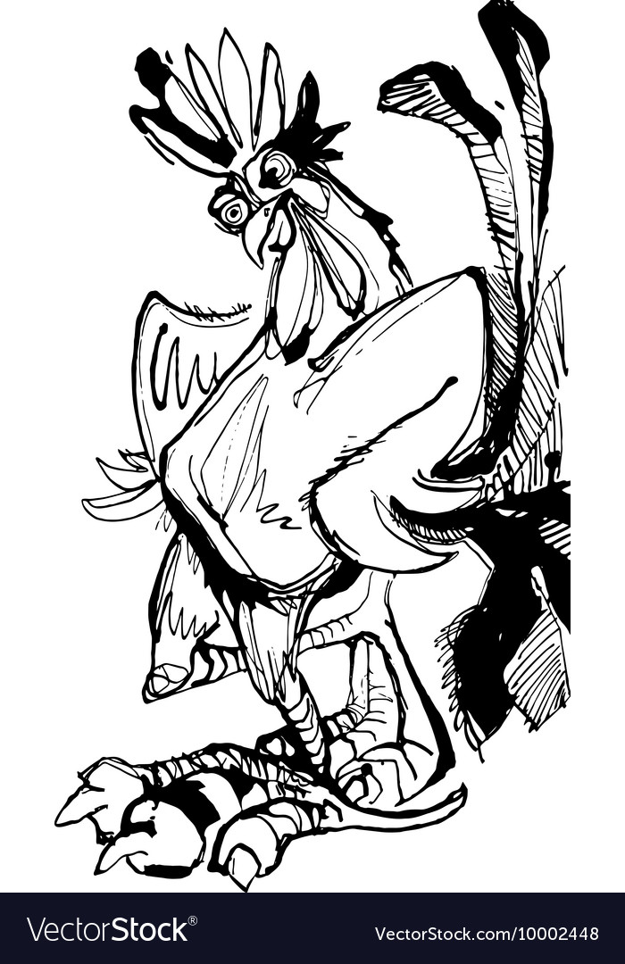 Funny hand drawn cock standing with arms akimbo