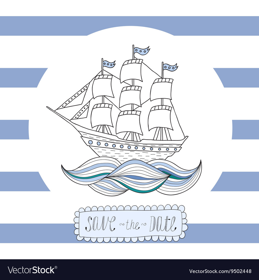 Greeting card invitation with blue stripes round