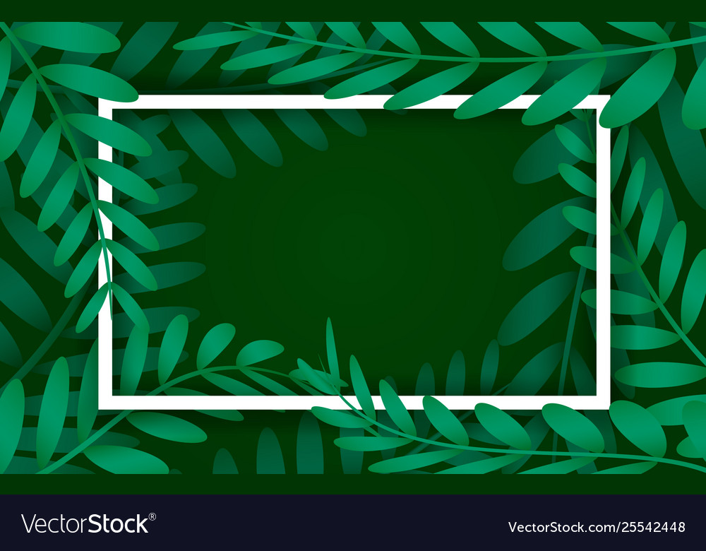 Leaves frame white frame on background with