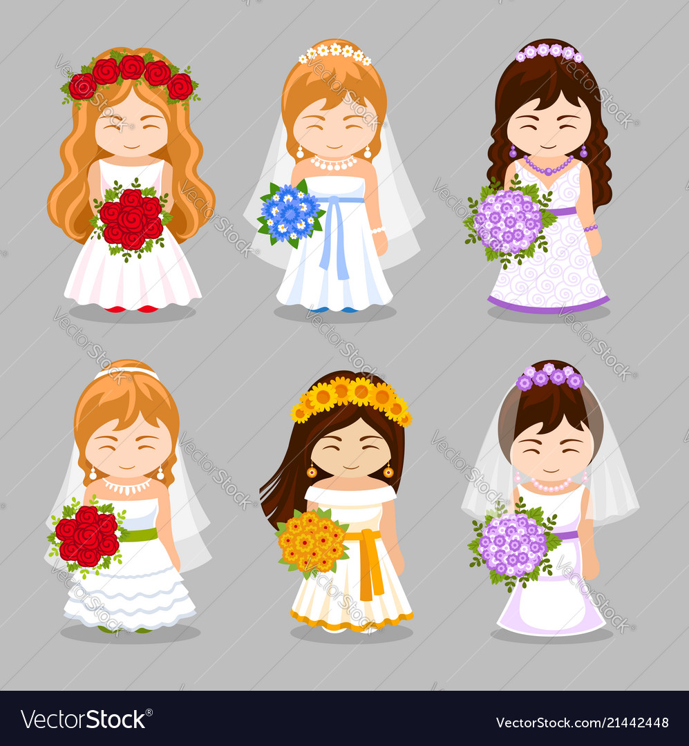 Set of beautiful brides with wedding bouquet
