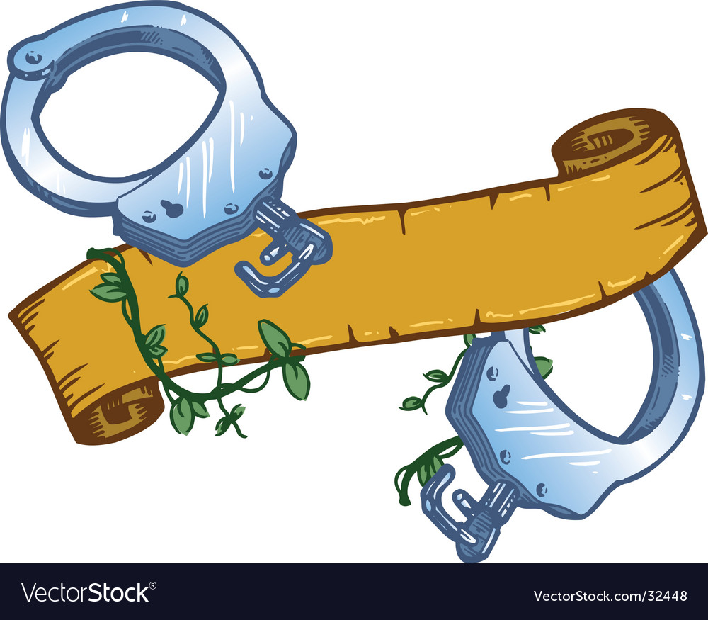 Tattoo handcuffs vector image