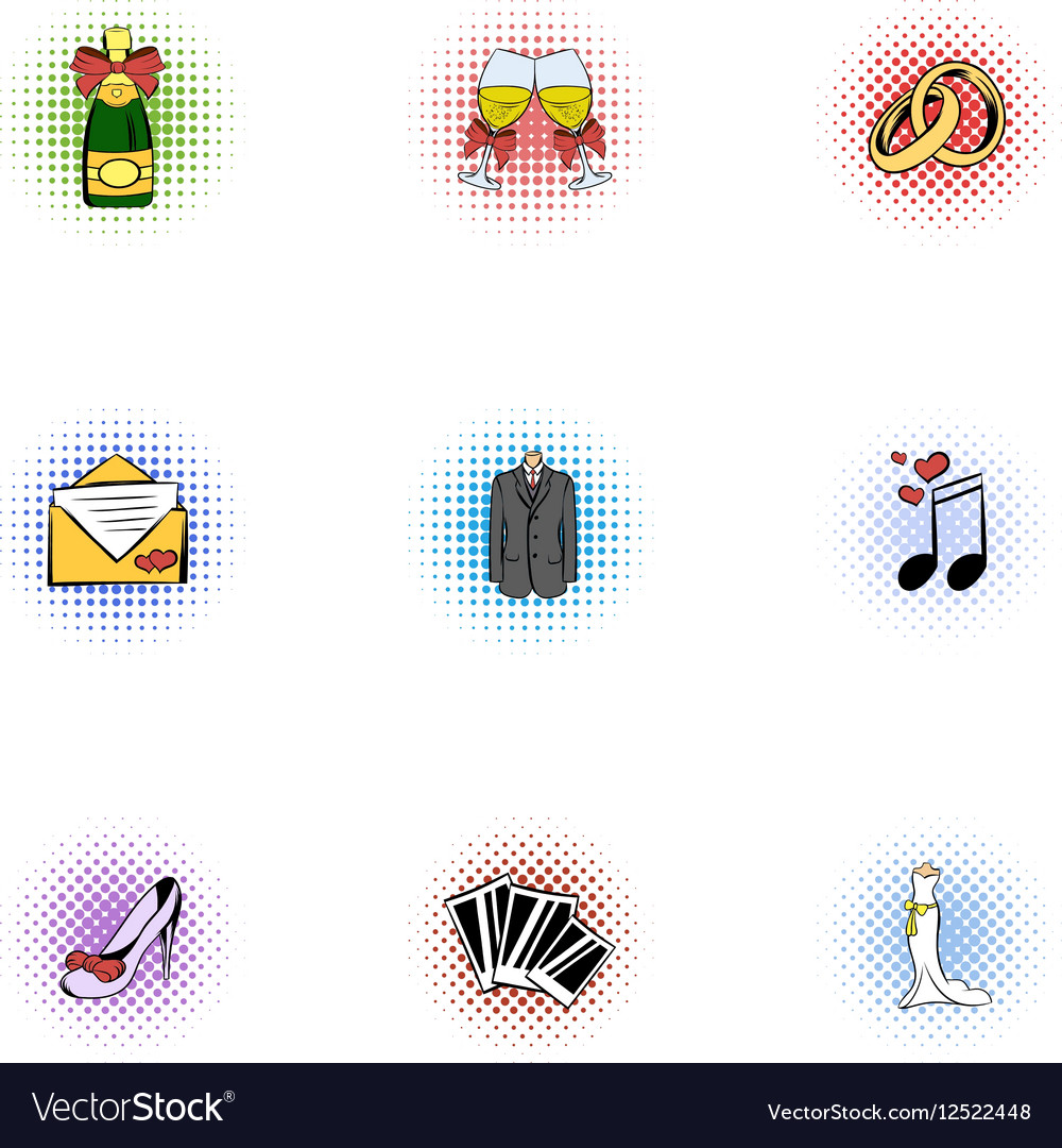 Wedding ceremony icons set pop-art style