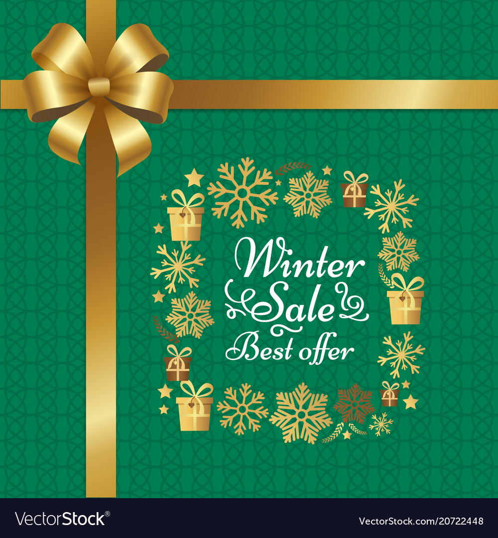 Winter sale best offer poster with gift bow