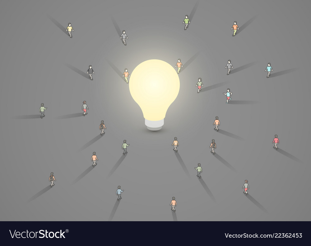 A group people walking to a light bulb