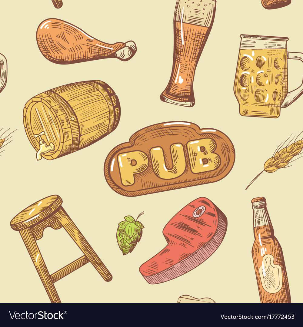Beer pub hand drawn seamless pattern brewery