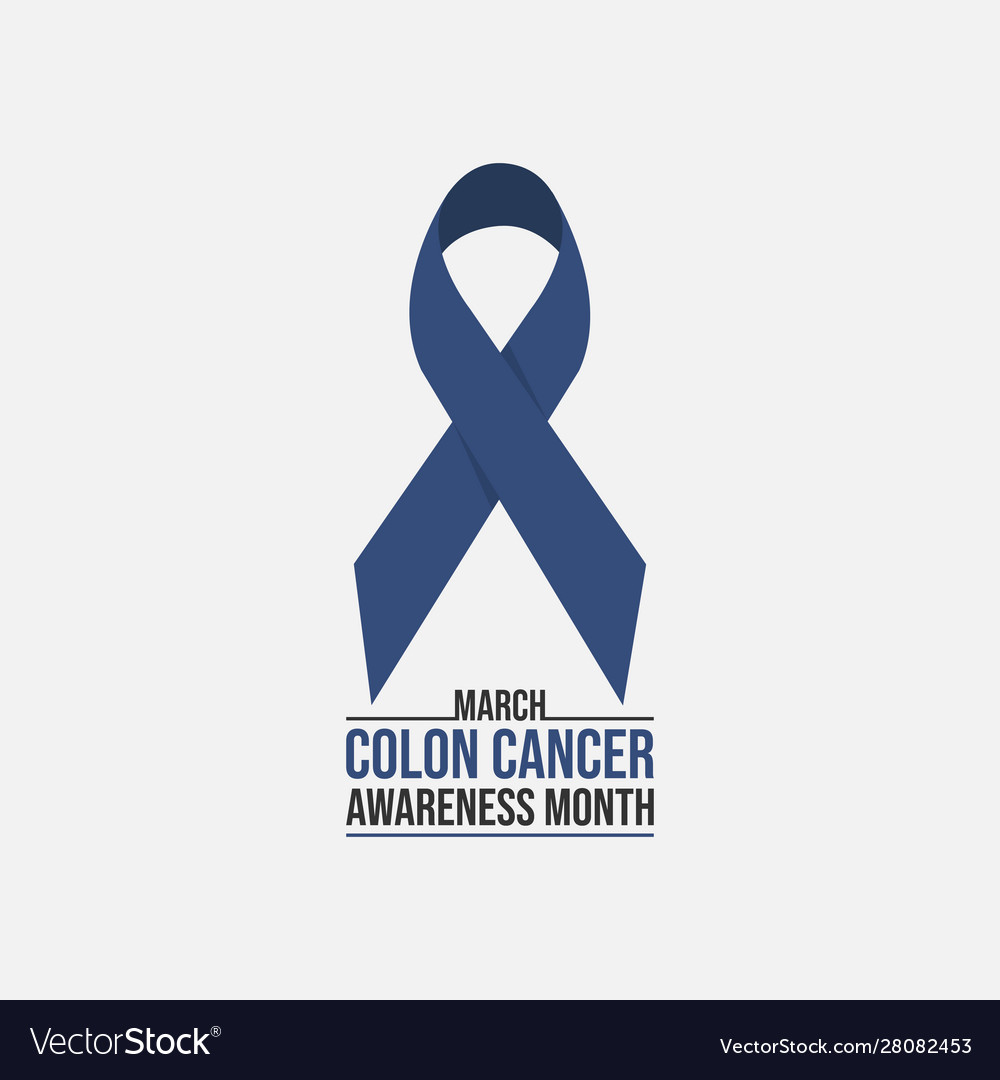 Blue Ribbon Colon Cancer Awareness Month Poster Vector Image