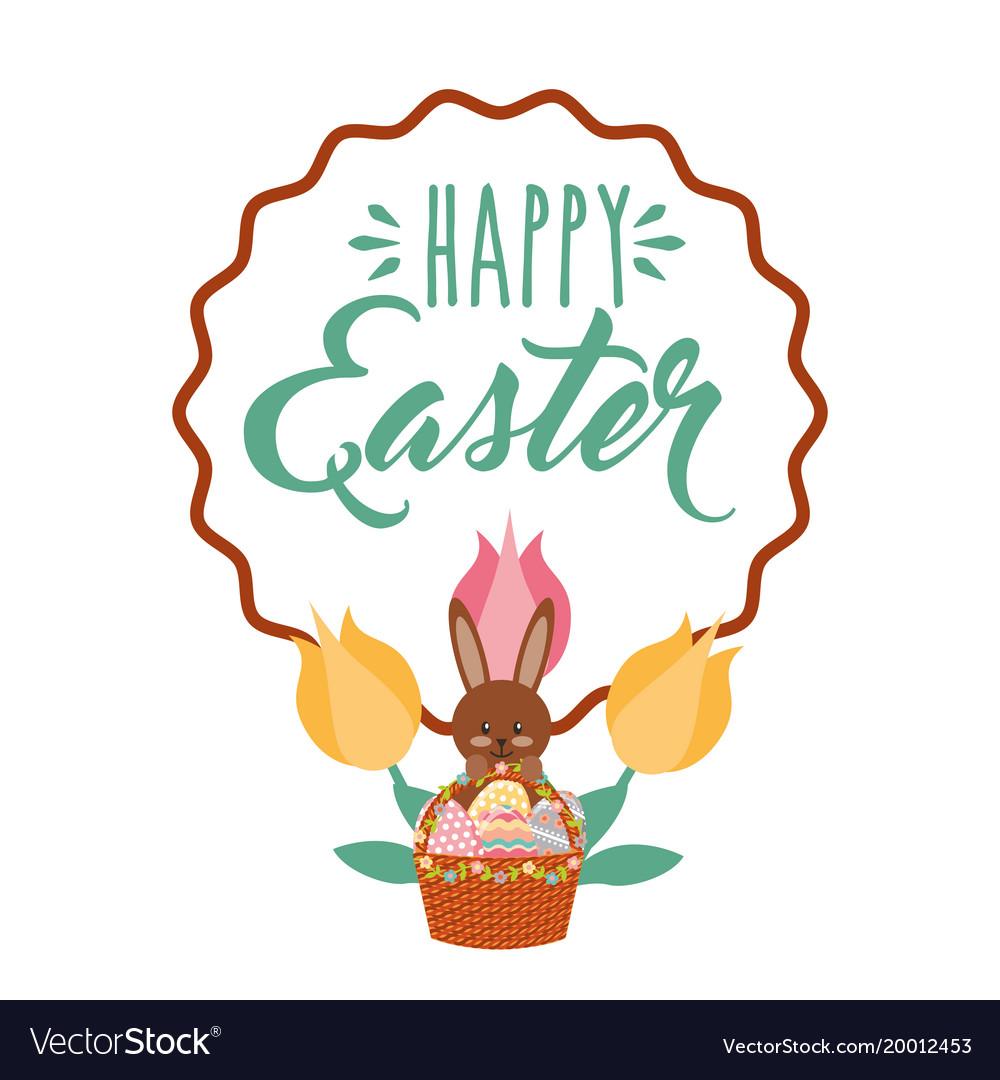 Brown rabbit with basket eggs flowers vintage