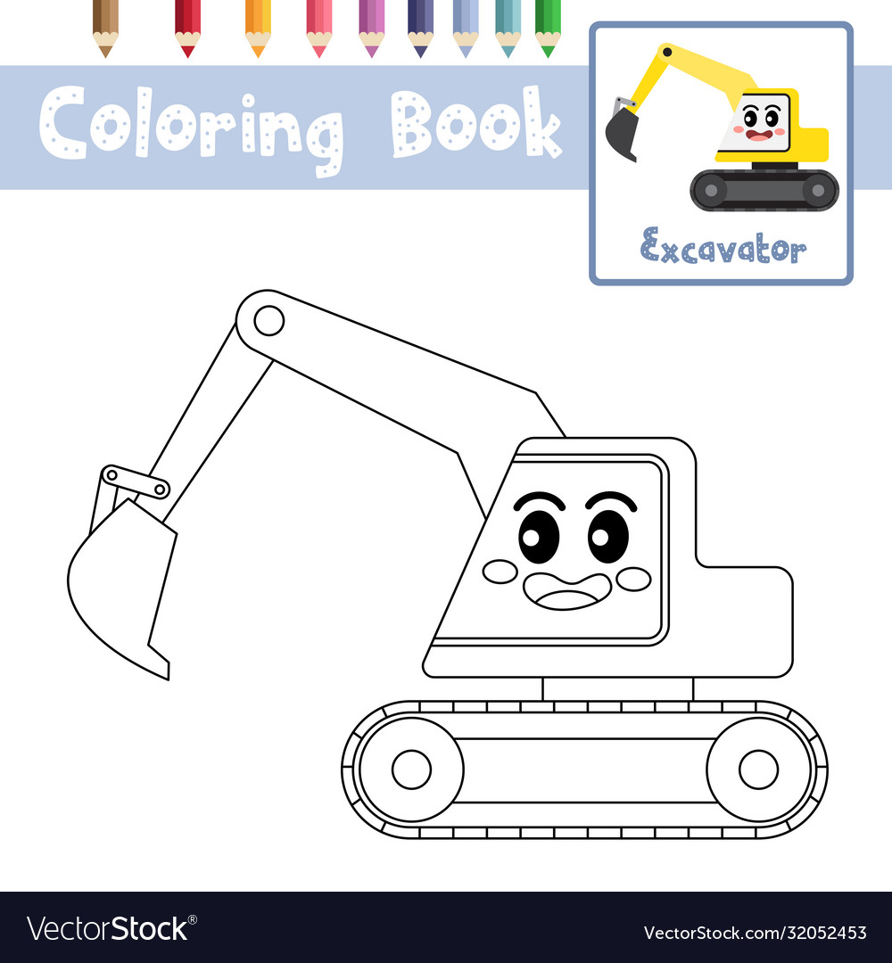 Coloring Page Excavator Cartoon Character Side Vector Image