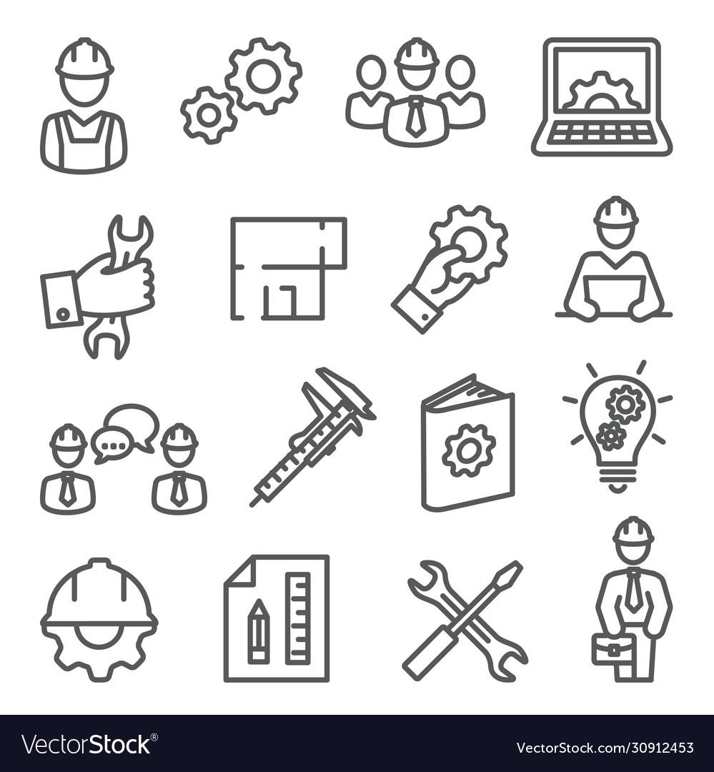 Engineering line icons set on white background