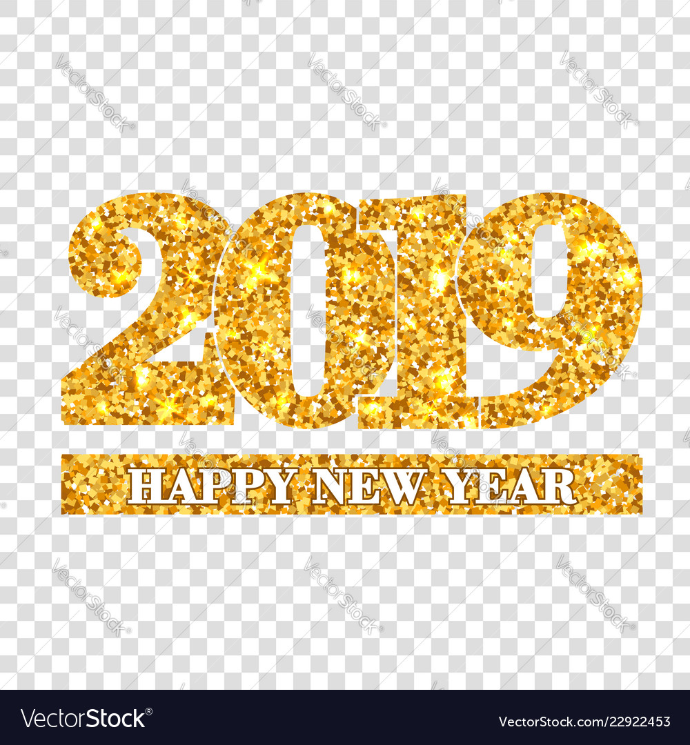 happy new year card gold number 2019 golden vector image