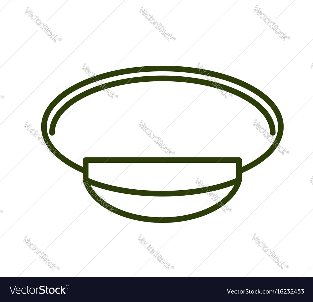 Military cap line style army officer hat icon