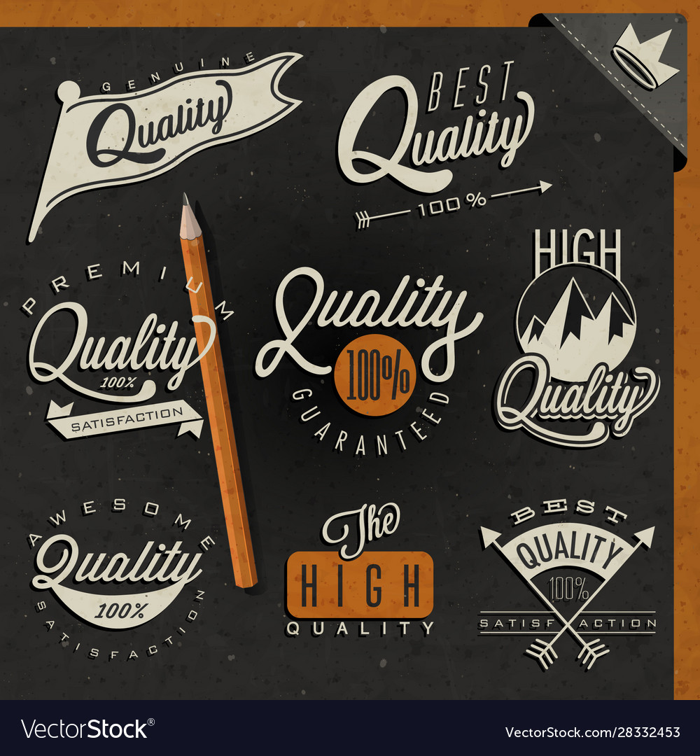 Retro vintage style premium quality labels collect vector