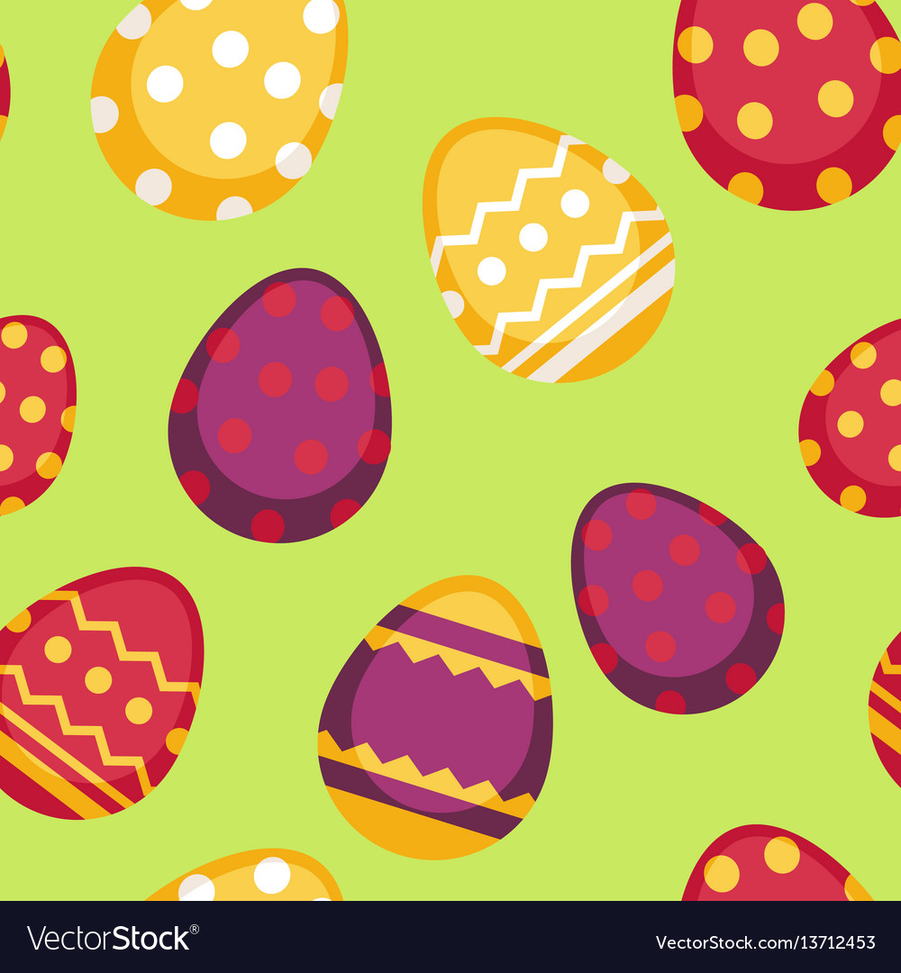 Seamless pattern with decorated eggs isolated