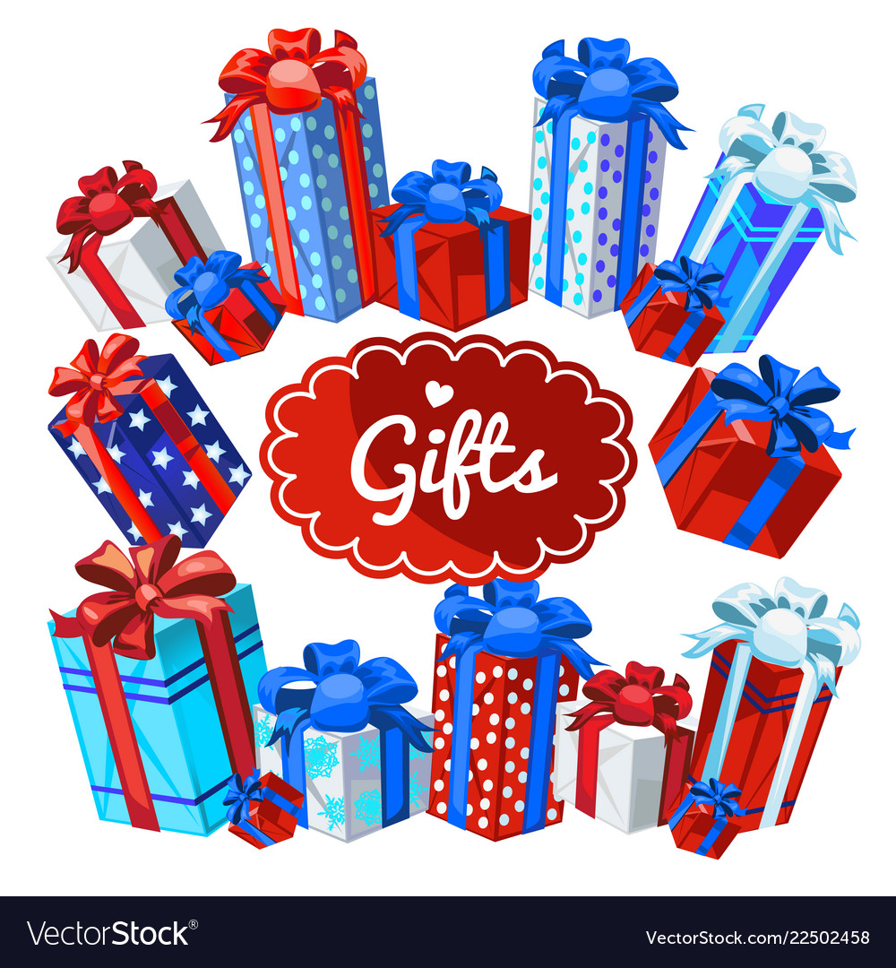A set boxes with christmas gifts isolated on