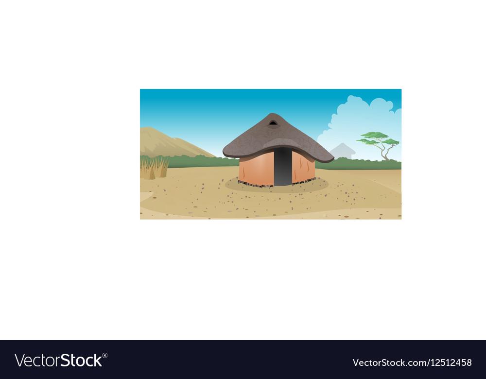 African hut village vector image