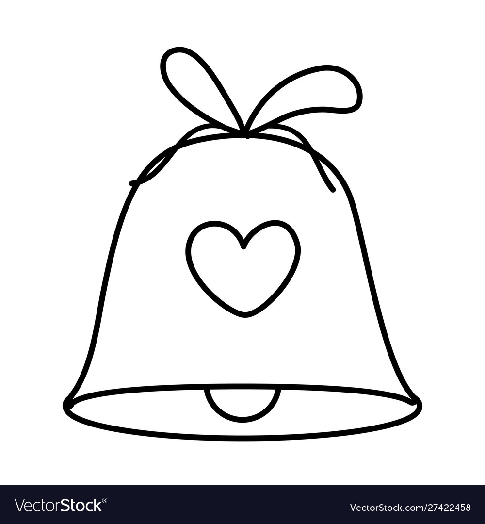 Bell with heart ribbon decoration merry christmas
