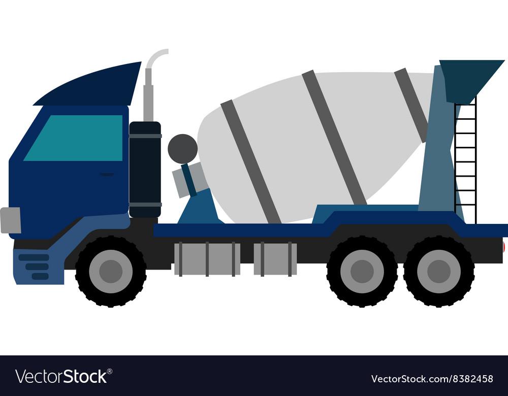 Blue Concrete Mixer Truck Flat style