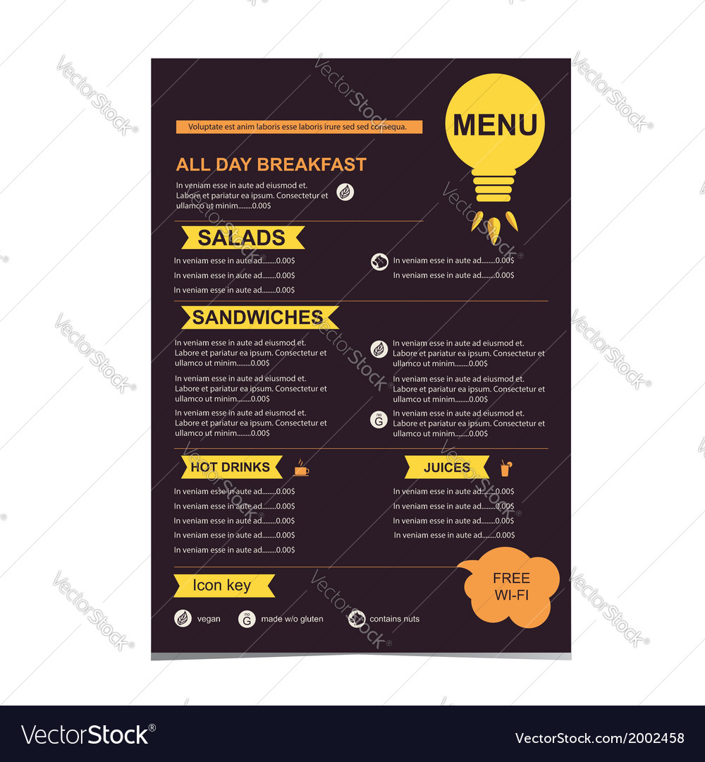 Cafe menu restaurant template design