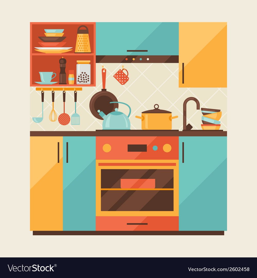 Card with kitchen interior and cooking utensils in