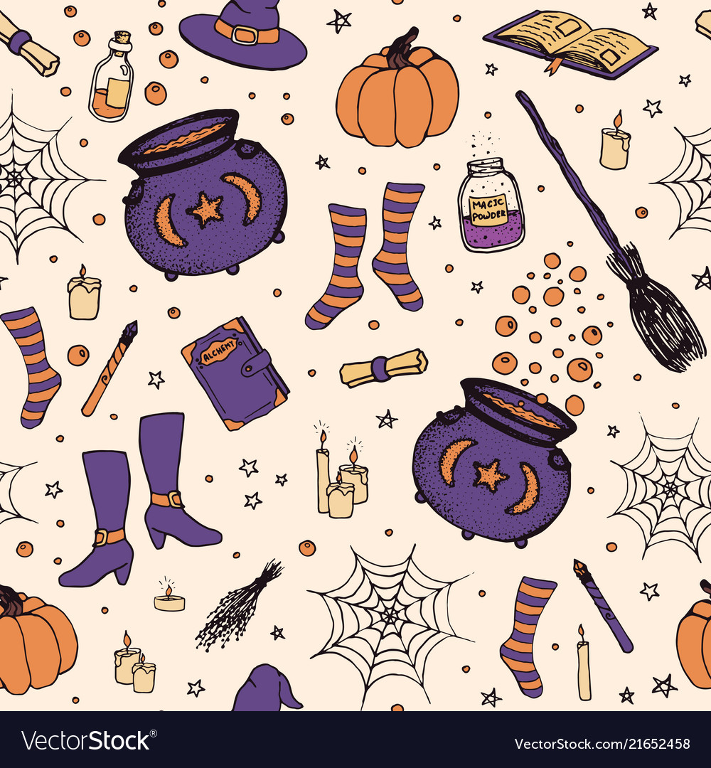 Halloween pattern with pumpkin witch hat outline