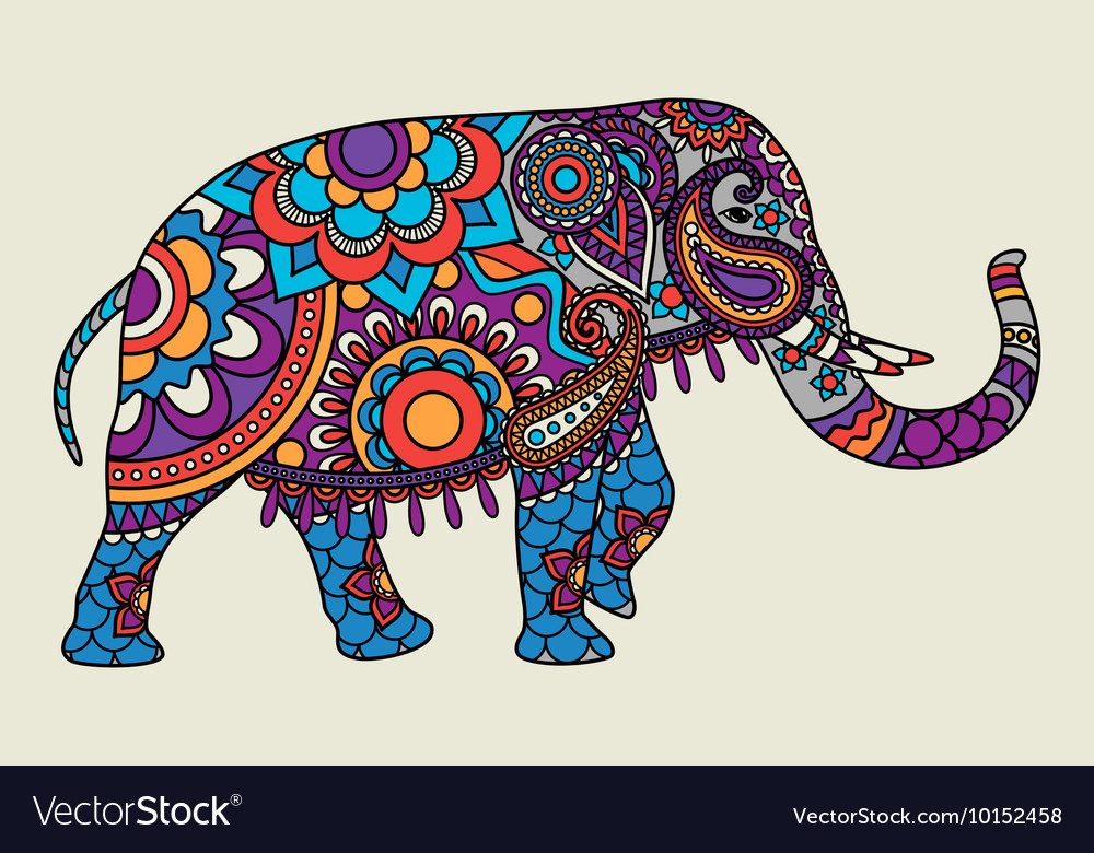 Indian ornate elephant colored