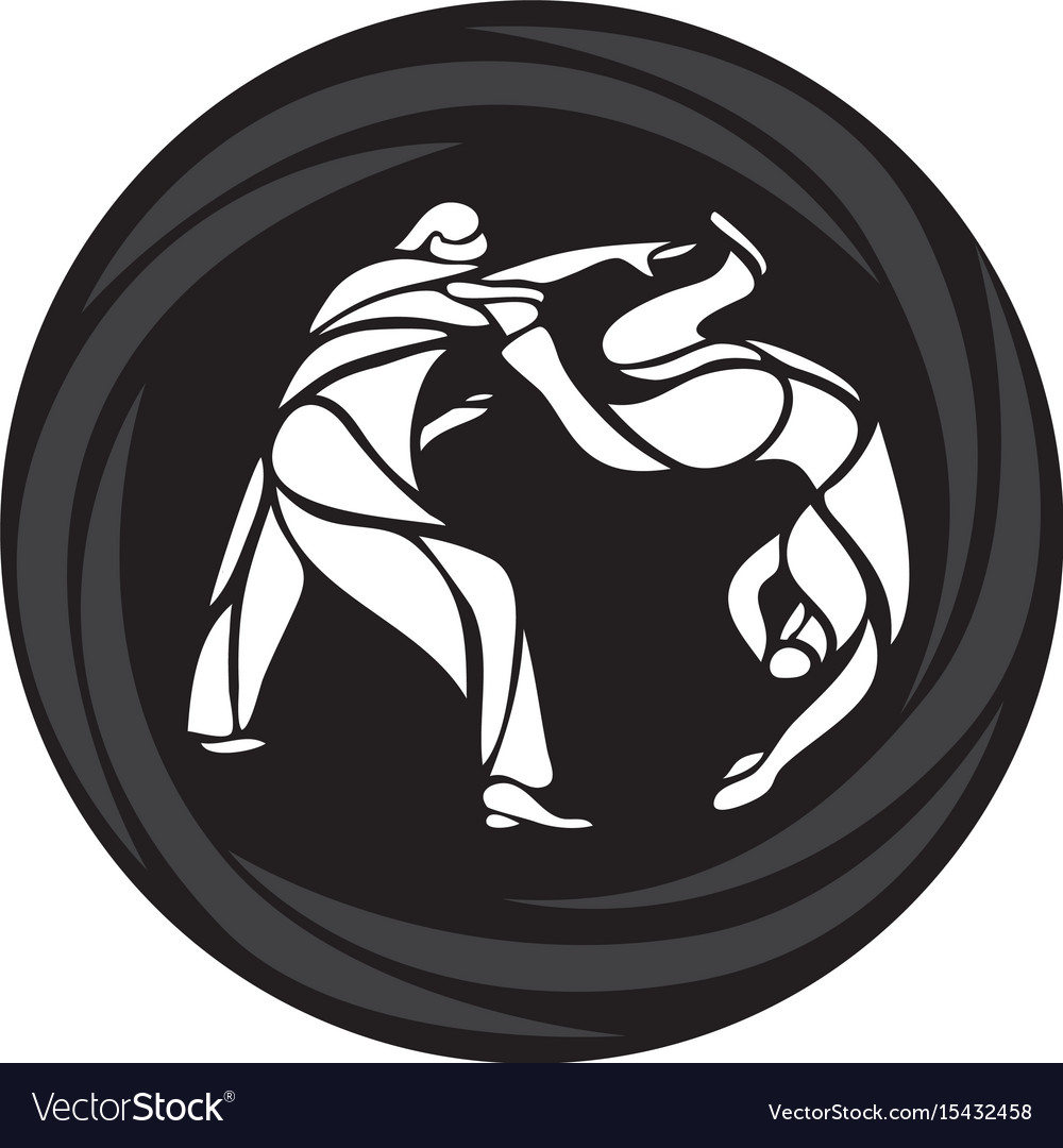 Judo fighters round pictogram or logo martial