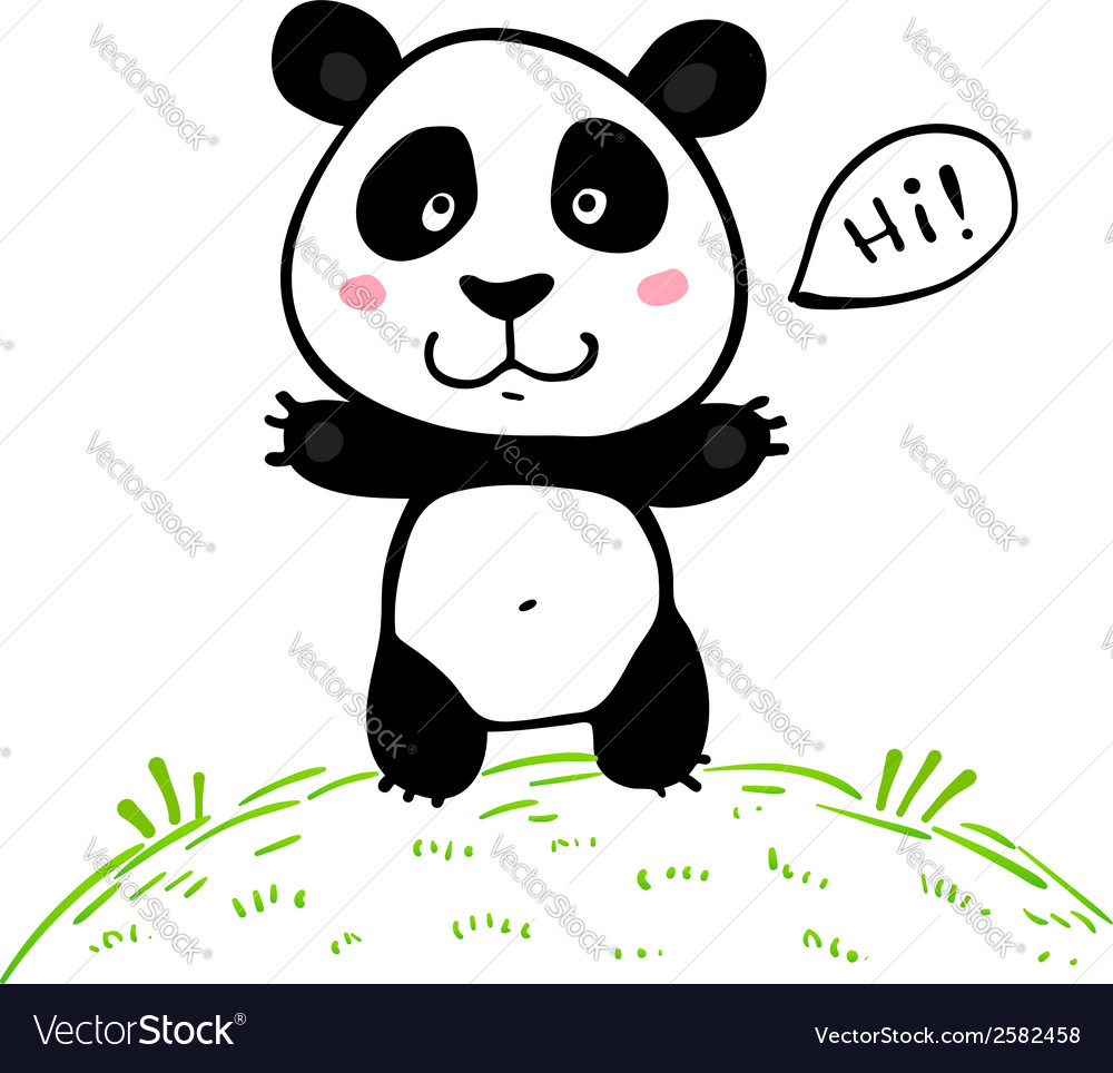 Little Cute Doodle Drawing Panda Royalty Free Vector Image