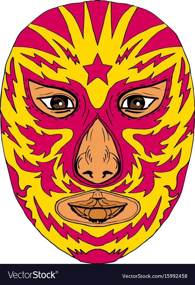 Luchador mask star lightning bolt drawing