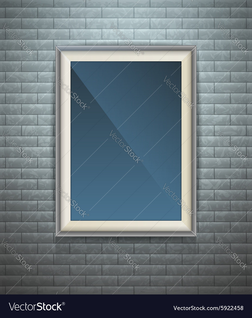 Realistic blank poster in a wooden picture frame