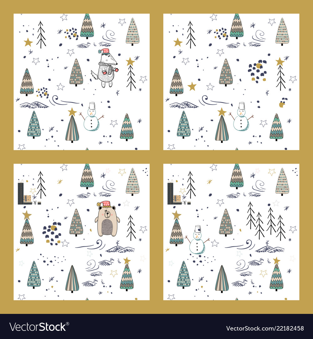 Set of cute winter trees seamless pattern on white