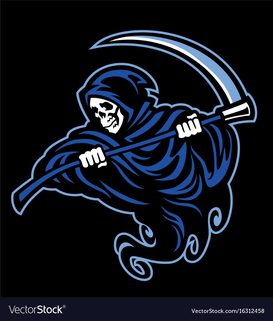 Skull of grim reaper with the sickle vector image