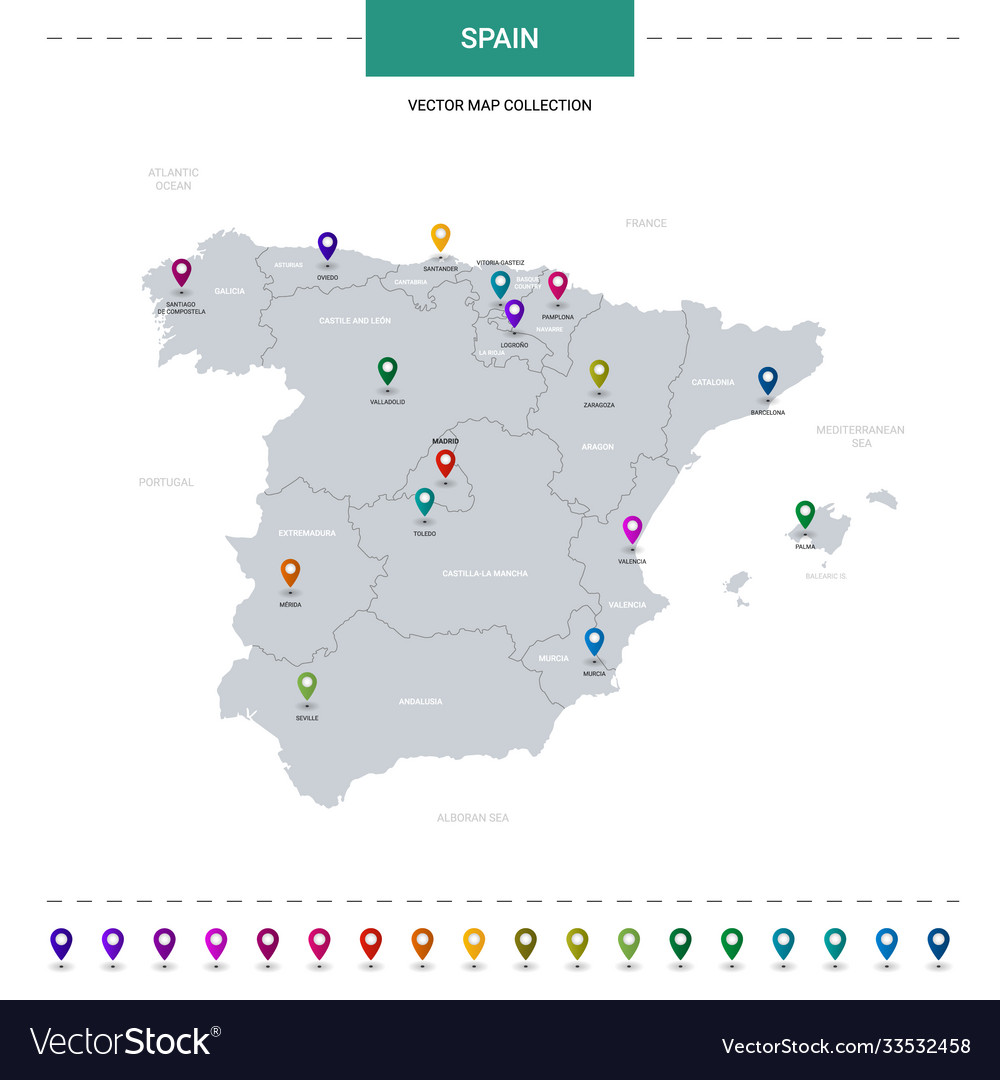 Spain map with location pointer marks infographic