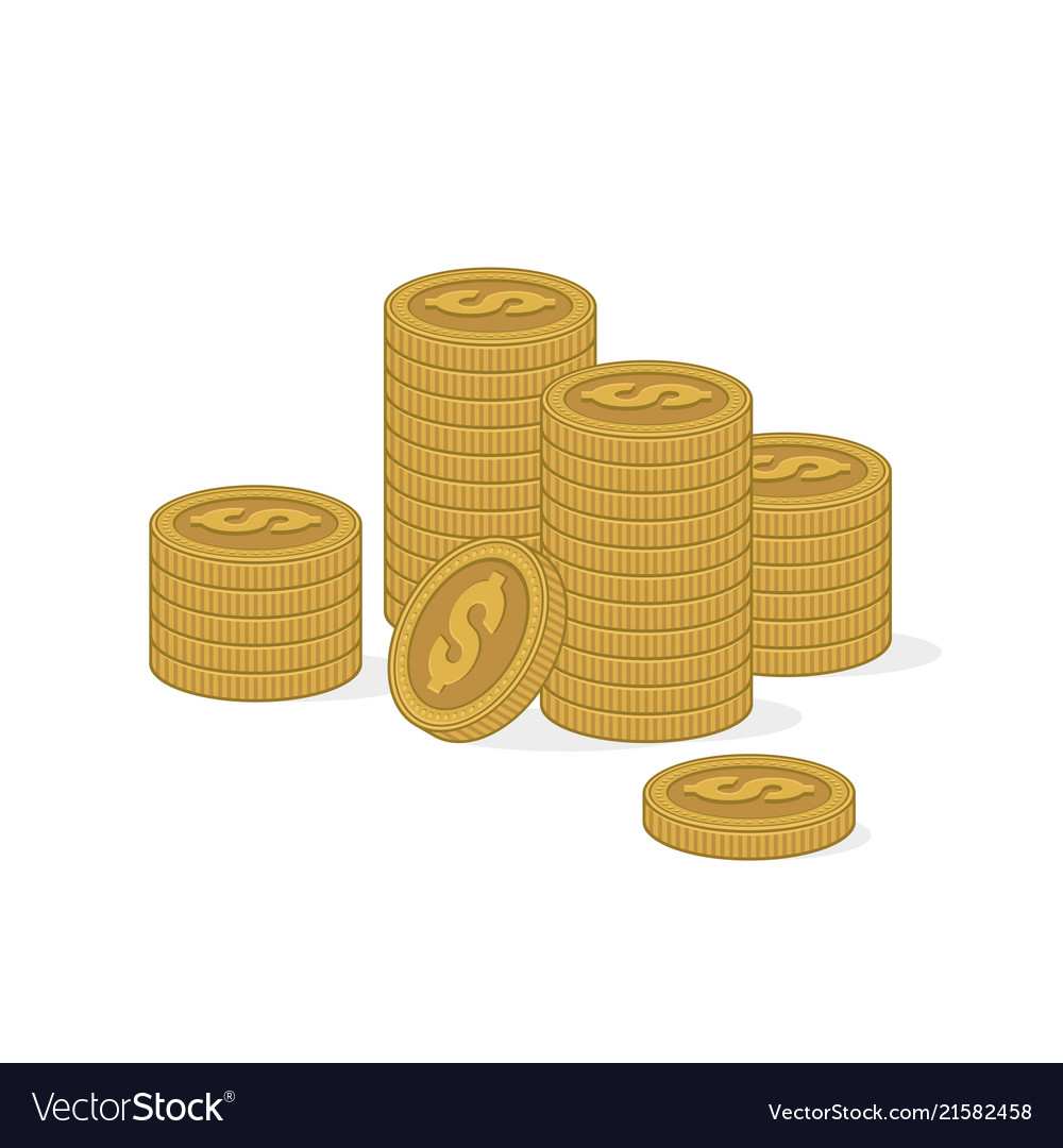 Stacks gold coins on white background