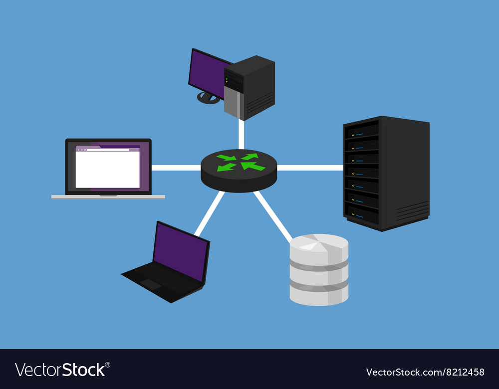 Star network topology lan design networking vector image publicscrutiny Images